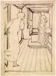 Edward Burne-Jones (Edward Burne Jones) (1833-1898)  Pygmalion and the Image - Study for Pygmalion seeing the Image come to Life  Pencil on tracing paper, 1867  115 mm x 88 mm  Birmingham Museums and Art Gallery, Birmingham, United Kingdom